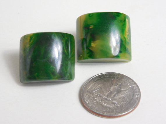 1940 1950 Large Bakelite Green Marbled End Of Day Earrings