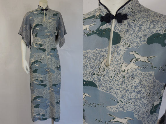 SOLD! 1950's Stan Hicks Silk Pake Muu Dress Beautiful