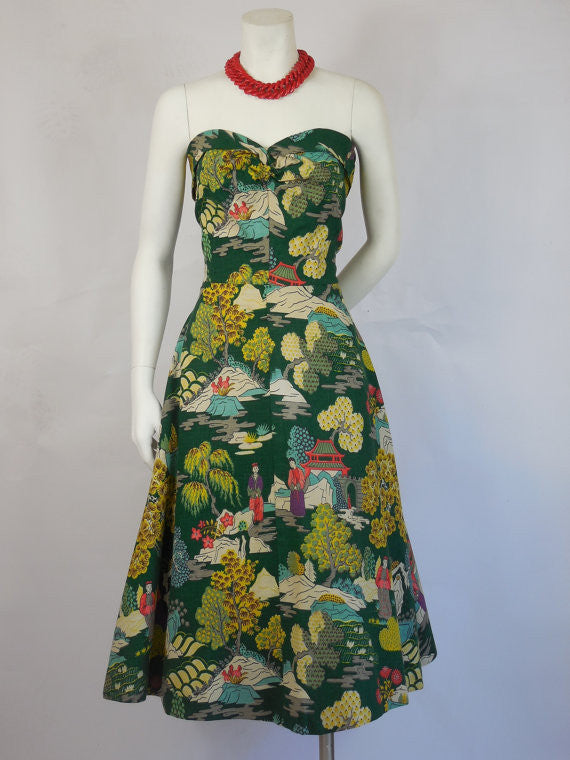 SOLD! 1940's 1950's Vintage Strapless Dress With Great Asian Print
