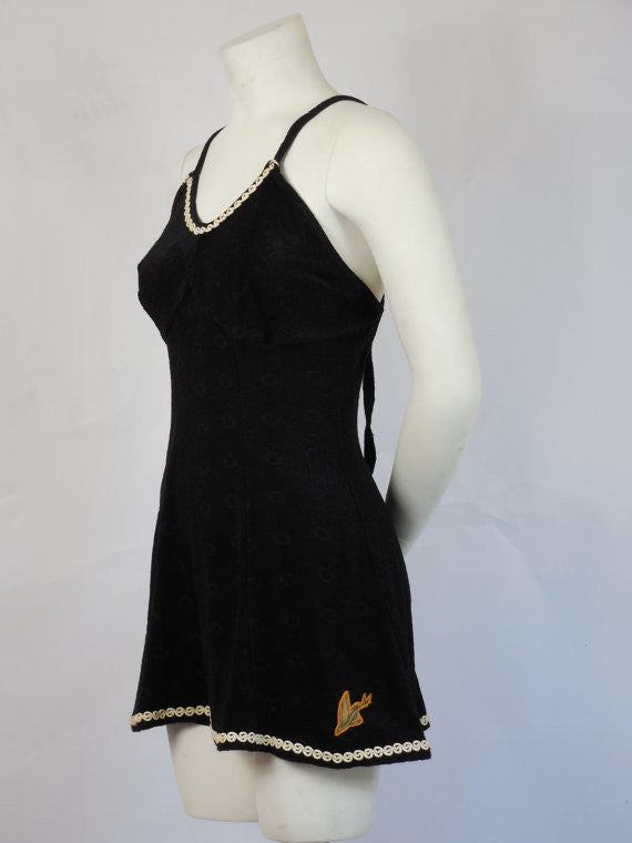 SOLD! 1920's 1930's Vintage Catalina Flying Fish Black with White Trim Swim Suit Amazing Design