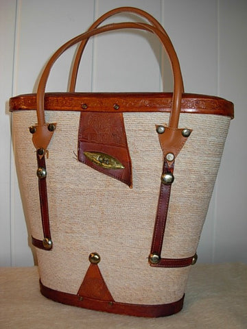 SOLD! 1950 Huge Mexican Tooled Leather Basket Purse