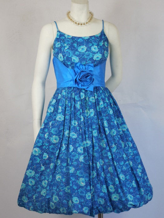 1950's Jeanne Juniors of California Floral Blue Bubble Dress Perfect
