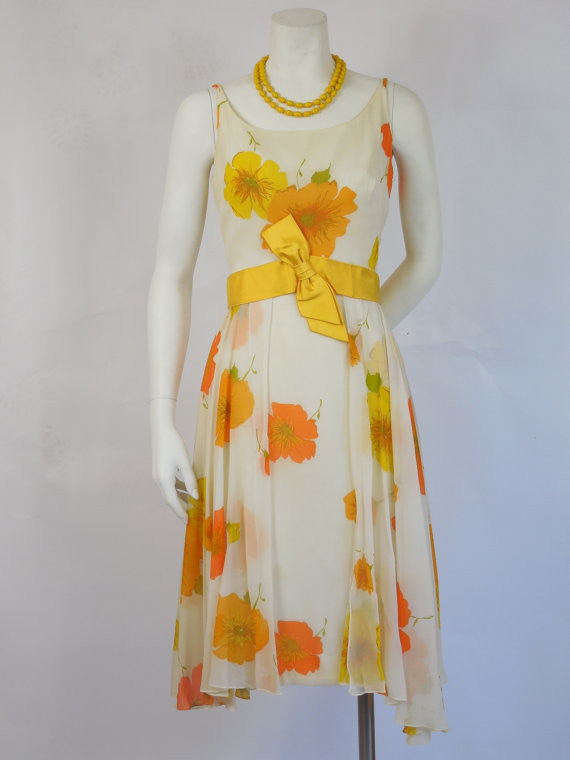 1950 Carol Craig Orange & Yellow Chiffon Wiggle Dress