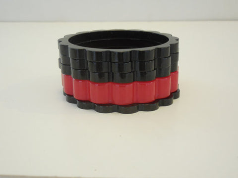 SOLD! 1930 1940 Set of 5 Scalloped Bakelite Black and Red Bangle Bracelets Five Total Rare