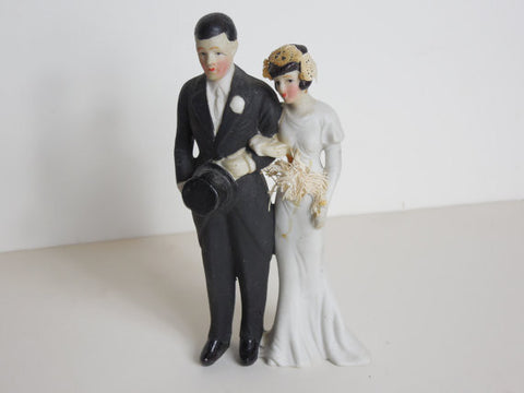 SOLD! 1930 Vintage Tall Art Deco Wedding Cake Topper So Perfect