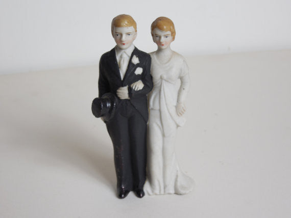 SOLD! 1930 Vintage Art Deco Wedding Cake Topper Dead Stock Never Used Perfect