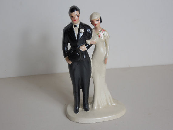 SOLD! 1930 Vintage Tall Art Deco Wedding Cake Topper Dead Stock So Perfect