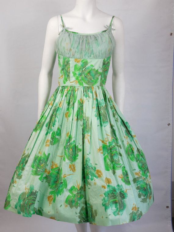 SOLD! 1950 Vintage Pastel Green Floral Shelf Bust Polished Cotton Party Dress
