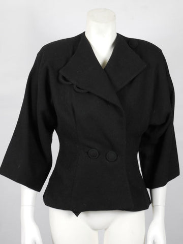 SOLD! 1950 Rich Black Wool Jacket with Dolman Quarter Wide Sleeves Perfect