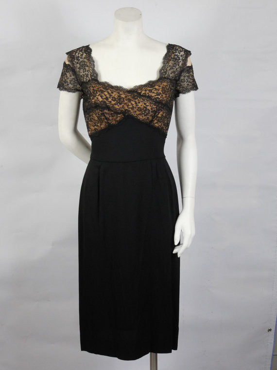 SOLD! 1950 Peggy Hunt Black Wiggle Dress Lace Shelf Bust