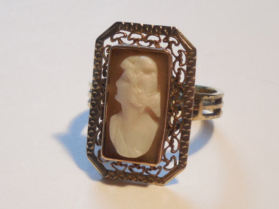 SOLD! 1900s Antique 10k Rose Gold Filigree Victorian Edwardian Cameo Ring