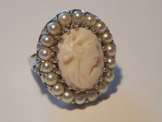 1950s Large Antique Estate Vintage 14k White Gold Cocktail Cameo and Pearl Ring