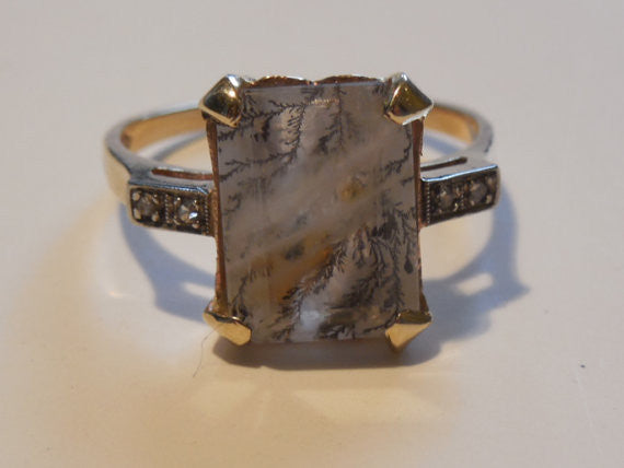 SOLD! Antique Estate 1940 Lavender Moss Agate and Diamond VTG 14k Rose Gold Ring
