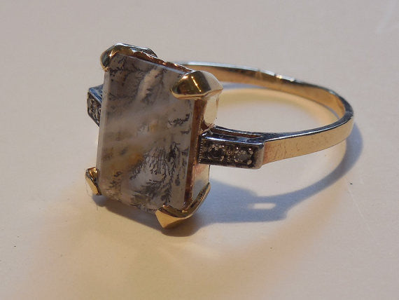 Golden Moss Agate: SOLD! Antique Estate 1940 Lavender Moss Agate And Diamond