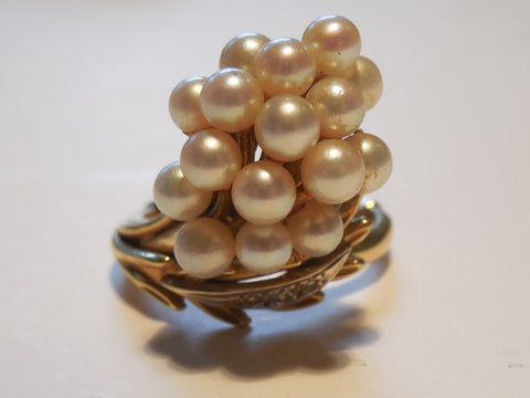 Antique Estate 1960 LG Clustered Pearls and Diamonds VTG 18k Yellow Gold Cocktail Ring