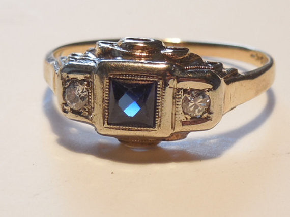SOLD! Antique Estate 1920 Art Deco Sapphire and Diamond VTG 14k Rose Gold Ring