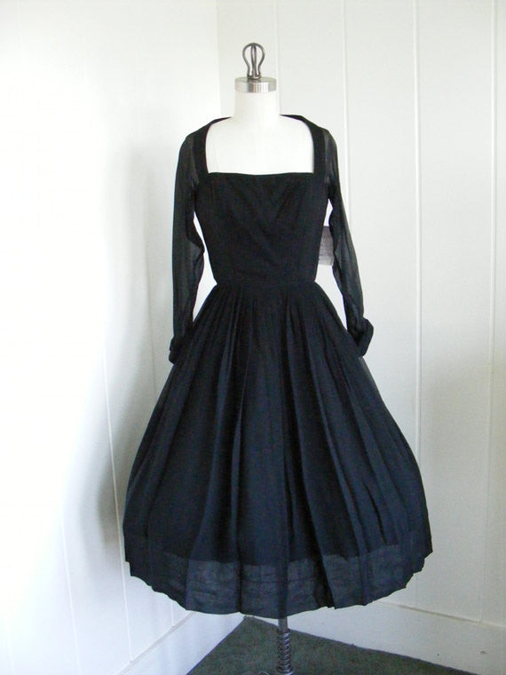 SOLD! 1950/60's Vintage Chiffon Black Cocktail Dress