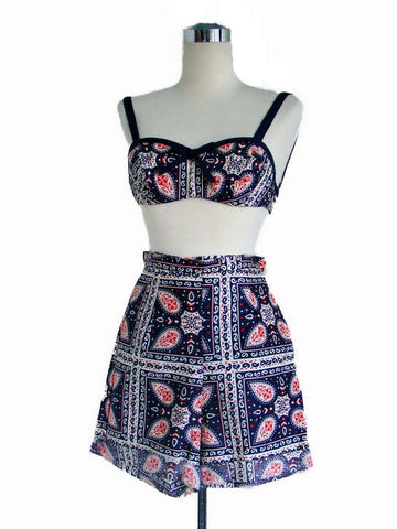 RESERVED 1950's Blue red and white Paisley print Bra and Short set.