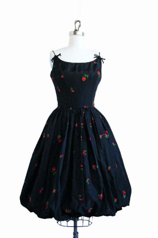 1950's Vintage Black Bubble Dress with Red Roses