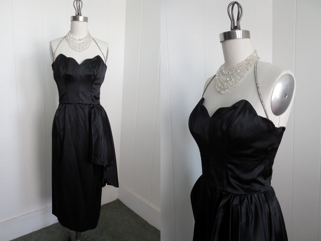 SOLD! 1950\'s LBD Cocktail Dress with Scalloped Bust and Rhinestone ...