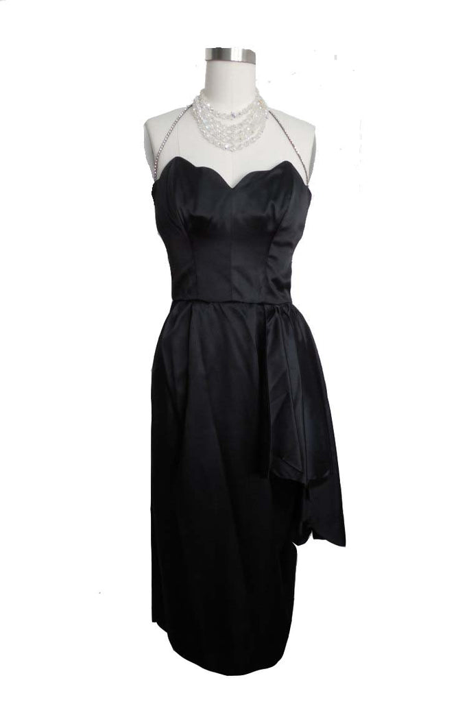 SOLD! 1950's LBD Cocktail Dress with Scalloped Bust and Rhinestone Halter Strap by Beaumelle VLV