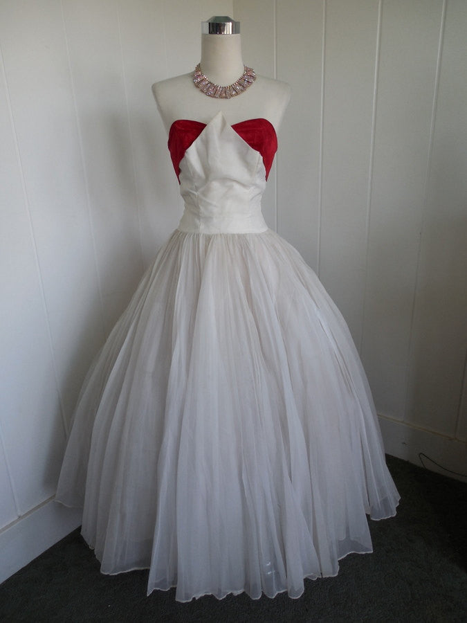 1950's Red And White Chiffon Prom Gown Rockabilly