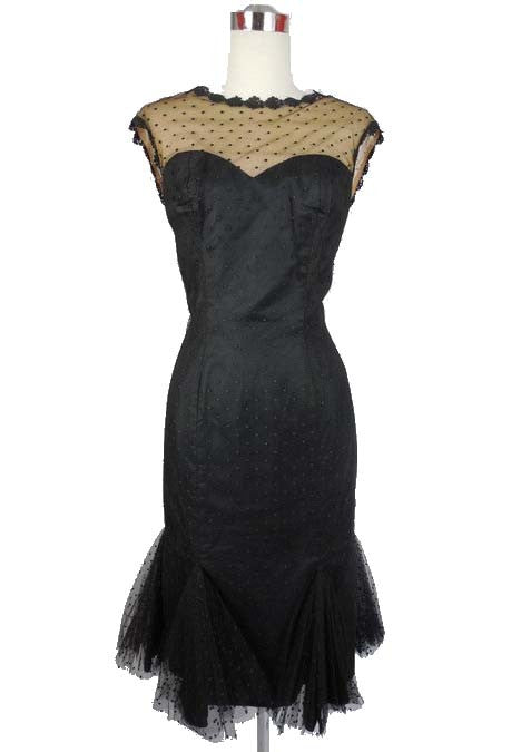 SOLD! 1950's Vintage Lilli Diamond Black Dotted Tulle Wiggle Dress Very Sexy