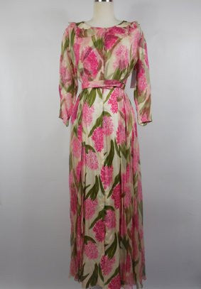SOLD! 1960's Vintage Juel Park Floral Chiffon Pink Robe