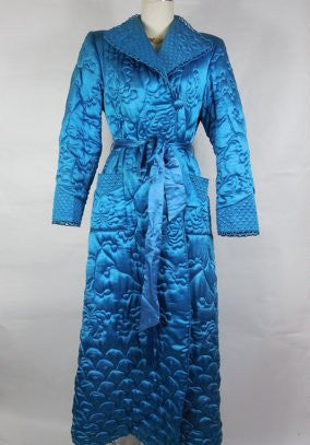 SOLD! 1950's Vintage Royal Blue Floral Quilted Robe