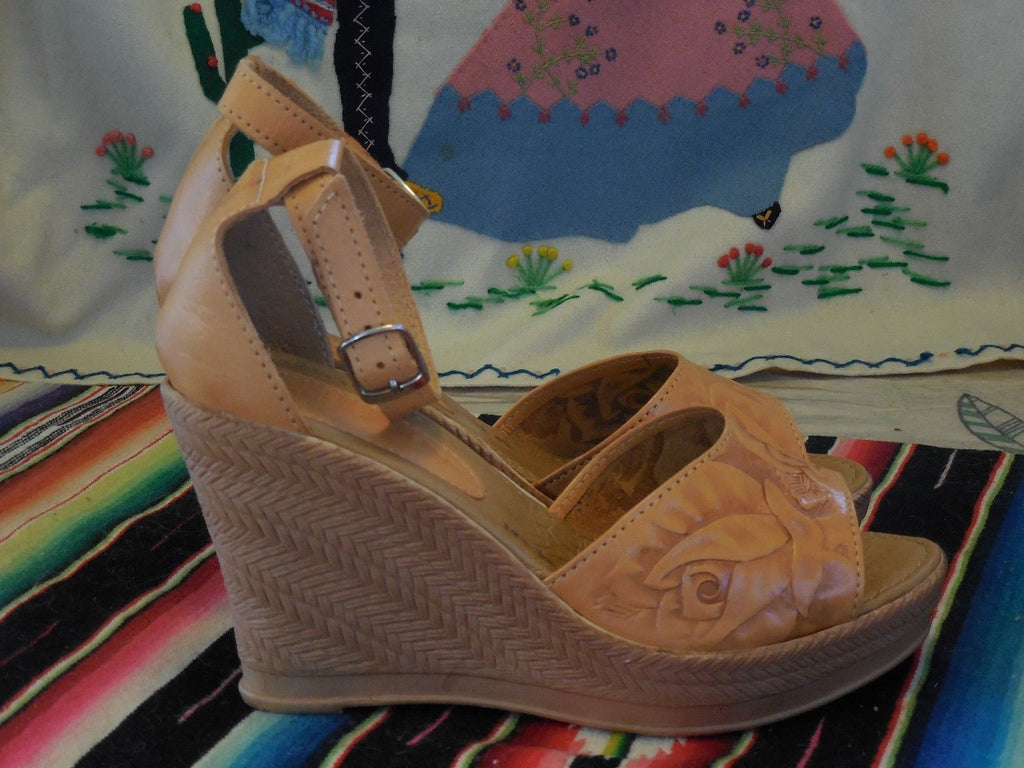 1940 1950 VINTAGE STYLE ANKLE STRAP MEXICAN TOOLED LEATHER SHOES WEDGE SANDALS COMES IN 7 COLORS