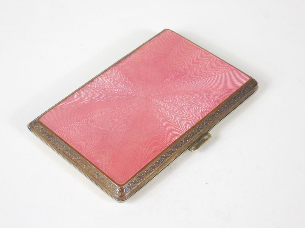 SOLD! 1920 Pink Enamel Cigarette Compact with Art Deco Design Perfect Condition