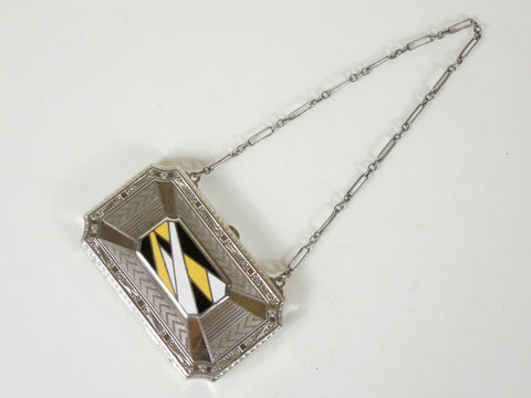 SOLD! 1920 Chrome & Enamel Compact with Black & Yellow Art Deco Design