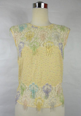 SOLD! 1960's Vintage Cream Sleeveless Blouse with Floral Pastel Beads by Evelyn