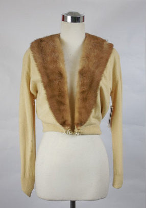 SOLD! 1950's Vintage Beige Hadley Cashmere Sweater with Mink Fur Collar