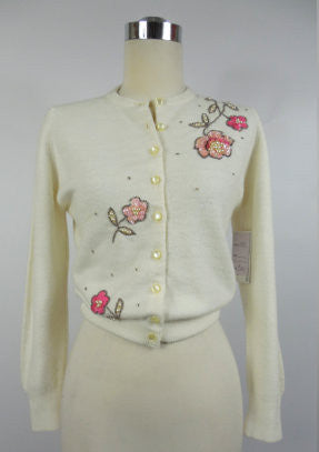 1950's Vintage Sweater with Pink Beaded Roses Blairmoor