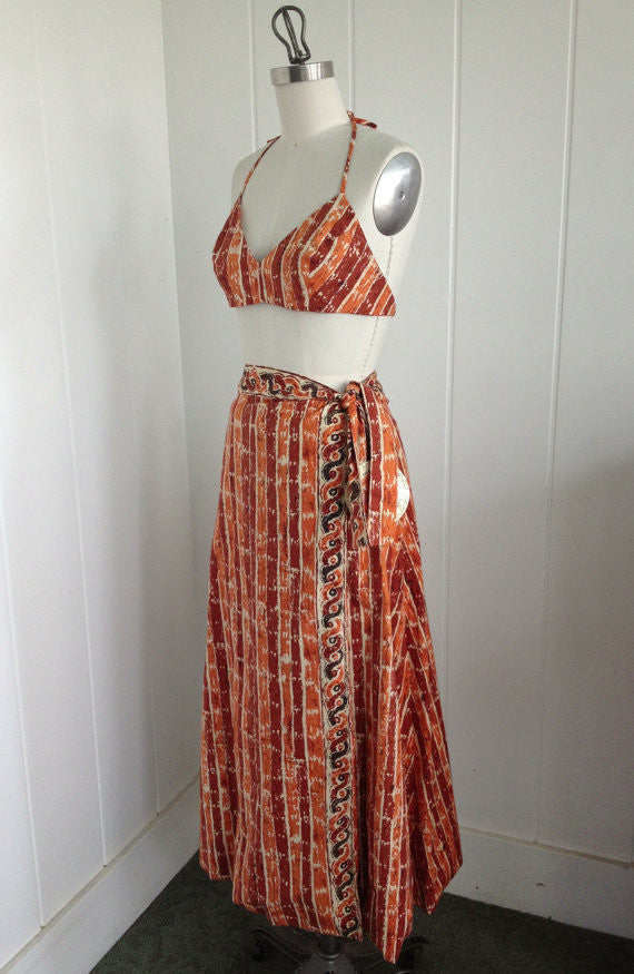 SOLD! 1950 1960 Vintage Deadstock Joan Arkin Dead Stock Tiki Hawaiian Bikini and Sarong Playwear