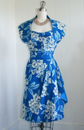 SOLD! 1950 Vintage Blue Hawaiian Sarong Dress with Bolero Jacket Rockabilly VLV Viva Las Vegas