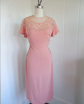SOLD! 1940's Vintage Frank Starr /Ruth Goude Original Rose Crepe Rayon Dress with Leaf Design