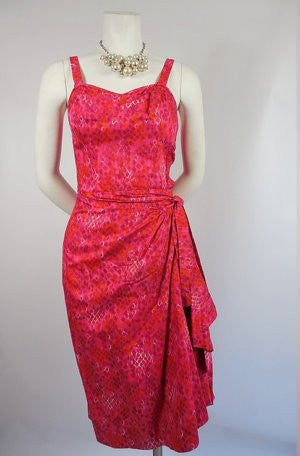 SOLD! 1950's The Kahala Pink Hawaiian Sarong Dress with Sweetheart Bust / Wiggle Dress