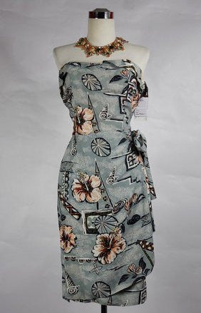 1950's Vintage Gray Hawaiian Sarong with Pink Flowers Wiggle Dress