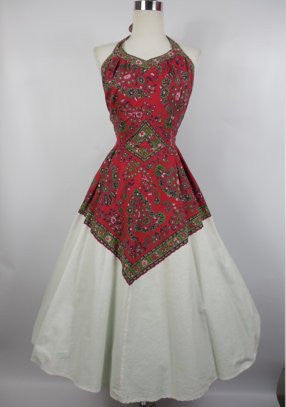 SOLD! 1950's Vintage Red and White Bandana Halter Dress by Loungees