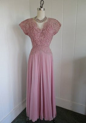 SOLD! 1940's Vintage Glen Joan Blush Pink Chiffon and Lace Evening Gown