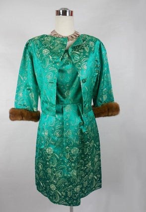 SOLD! 1950's Vintage Jane Derby Emerald Green Jacquard Dress and Jacket with Fur Cuffs