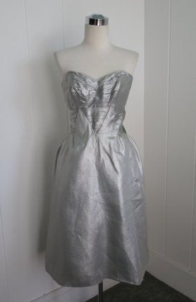 1950s Vintage Metallic Silver Lame Party Dress with Sweetheart Neckline VLV Rose