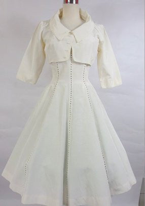 SOLD! 1950's Vintage White Cocktail Dress with Rhinstones by Minx Mode