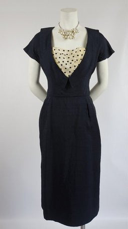 SOLD! 1950's Wiggle Dress Navy Blue with Polka Dot Shelf Bust by Don Loper