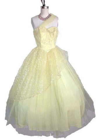 1950's Vintage Yellow Tulle Prom Dress with Sash