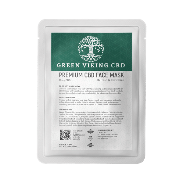 CBD Face Mask 10mg - Green Viking CBD