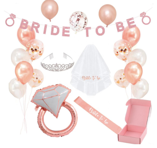 21  Piece Rose Gold  Bachelorette Decoration Kit & Apparel