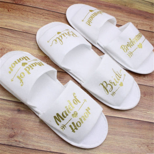 Bride and bachelorette party slippers.